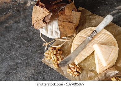 French national food. Cheese with mold. A delicious appetizer for wine. Doux et cremeux, munster cerome, Banon