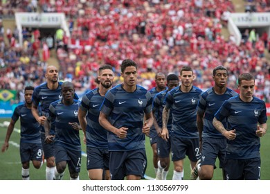 """French national football team warming up before France-Denmark football game at 2018 World Cup. """"Luzhniki"""" Stadium, Moscow. June 26, 2018."""