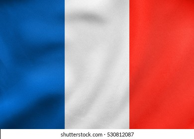 French national official flag. Patriotic symbol, banner, element, background. Correct size, colors. Flag of France waving in the wind, real detailed fabric texture. 3D illustration