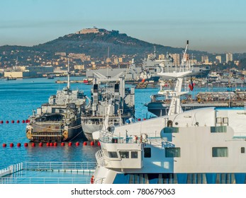 French naval ships moored at the port of Toulon on the Mediterranean