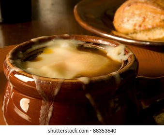 French onion soup, loaded with Gruyere and piping hot