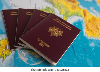French passports on map and plane background, France