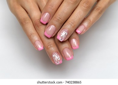 French pink manicure with crystals and monograms on nameless nails on short square nails