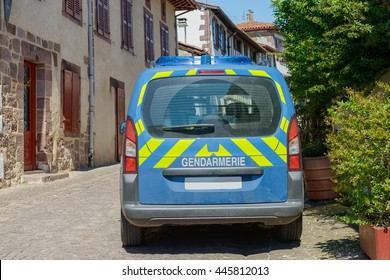 a French police car in  small village