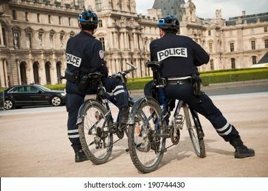 french policemen in bike in Paris