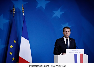 French President Emmanuel Macron addresses a press conference after a summit of the 27 EU leaders excluding British prime minister in Brussels, Belgium, on Feb. 23, 2018.