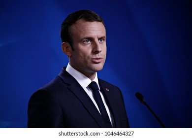 French President of Republic Emmanuel Macron gives a press conference during the EU leaders European Council in Brussels, Belgium on June 22, 2017
