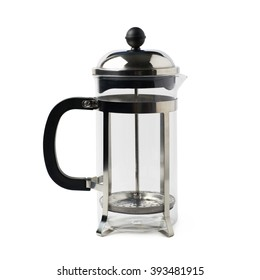 French press coffee pot isolated