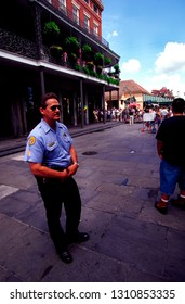 French Quarter, New Orleans, Louisiana, USA, filming America's Most Wanted, Policeman, June 14, 2000