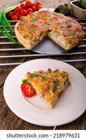 French Quiche with eggplant, leeks and spring onions, bathed in a delicious cream and baked until crisp