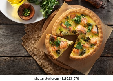 French quiches pie with broccoli,cheese and salmon.