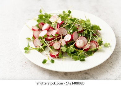 French Radishes in Salad with Microgreen Sprouts