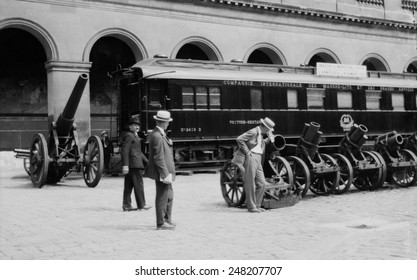 French railroad car in which armistice ending WW1 was signed on Nov. 11, 1918. Photo shows the car on display in the Cour des Invalides in Paris in the 1920s.
