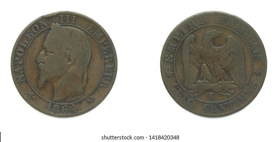 French republic 5 Centimes bronze coin 1864 K year. The coin features a portrait of emperor Charles-Louis Napoleon Bonaparte also known as Napoleon III, first elected president of France 1848-1852.