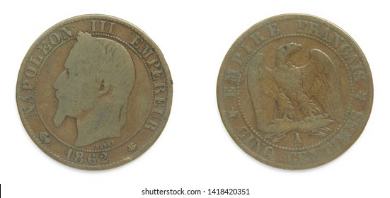 French republic 5 Centimes bronze coin 1862 year. The coin features a portrait of emperor Charles-Louis Napoleon Bonaparte also known as Napoleon III, first elected president of France 1848-1852.