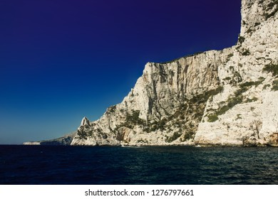 French Riviera Calanques- White rocks in sea