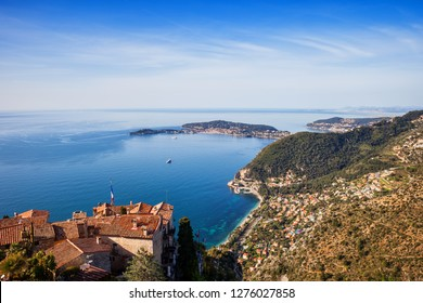 French Riviera coastline of Mediterranean Sea as seen from Eze village in France