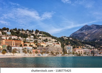 French Riviera coastline in resort town of Menton in France, Alpes-Maritimes, Provence-Alpes-Cote d'Azur region.