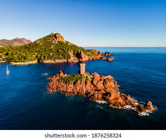 French Riviera, Côte d'Azur, aerial view of the Ile D'or coastline at sunset in the south of France