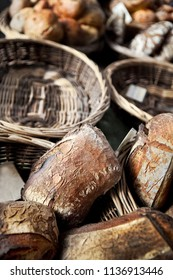 French rustic breads in wicker baskets