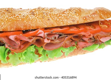 french sandwich : baguette with smoked sausage isolated over white