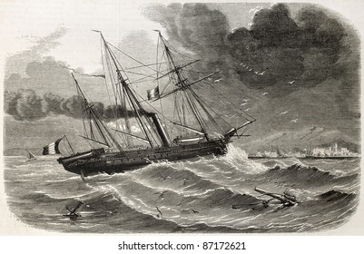 French ship Reine-Hortense transporting Duchess of Alba relics. Created by Lebreton, published on L'Illustration, Journal Universel, Paris, 1860