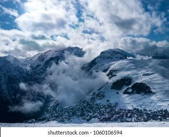 French ski resort Les 2 Alpes.