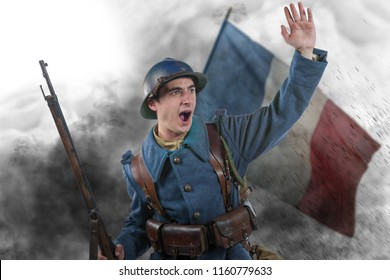 a French soldier 1914 1918 attack, November 11th