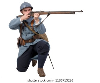 a French soldier 1914 1918 attack, November 11th on white background