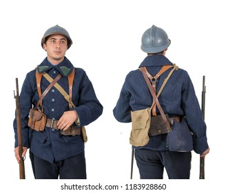 French soldier 1918, November 11th, front and back, on white background