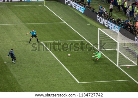 a735154d1 French striker Antoine Griezmann scores a penalty at World Cup 2018 final  match France vs Croatia