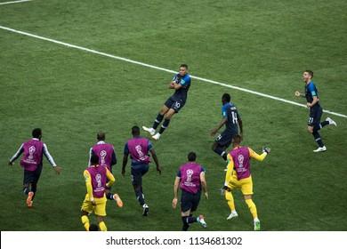 "French striker Mbappe celebrates goal he scored with teammates. World Cup 2018 final match France vs Croatia. ""Luzhniki"" Stadium, 15th July 2018."