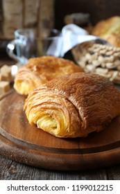 French sweet puff pastry bun for breakfast. Rustic sty