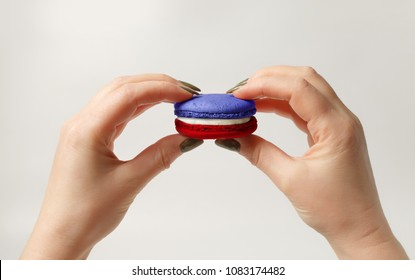 French theme. Bastille Day Concept. Macaron in the colors of the flag of France