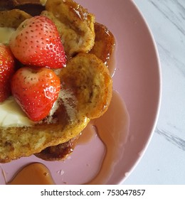 French toast breakfast with strawberries