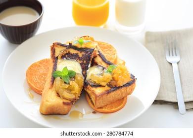 French toast with caramelized orange