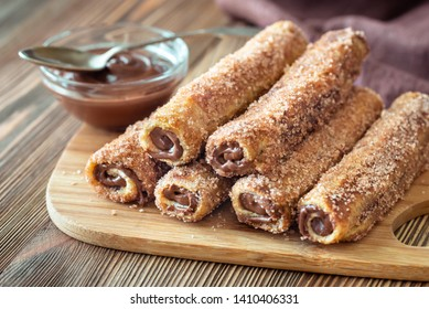 French toast roll-ups close up
