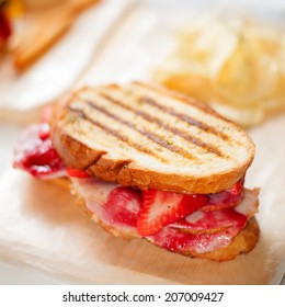French toast with strawberry and bacon