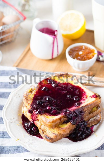 French toasts with blueberry sauce for breakfast