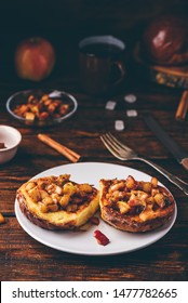 French toasts with chopped apple caramelized with cinnamon