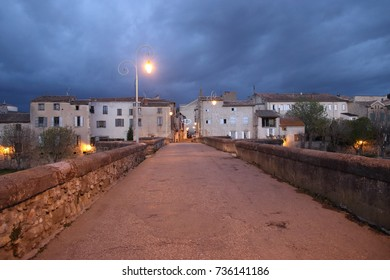 french town of Limoux and bridge over Aude river, Occitanie in south of France