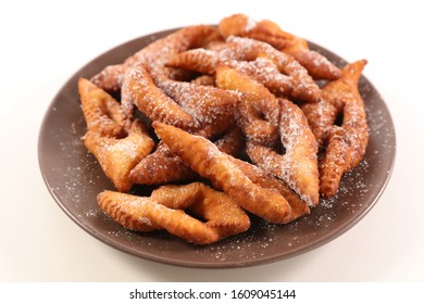 french traditional bugne and sugar- donut carnival