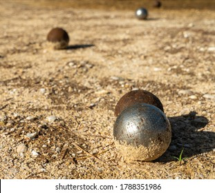 French traditional petanque game / Close up petanque balls