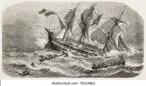 French vessel Imperatrice-du-Bresil shipwreck, old illustration. Created by Lebreton, published on L'Illustration, Journal Universel, Paris, 1858