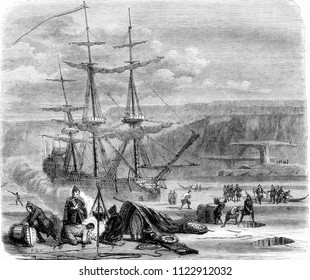 The French vessel the Pelican, grappling on grace in the Straits of Hudson, vintage engraved illustration. Magasin Pittoresque 1844.