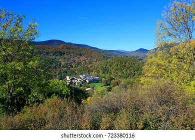 french village in autumnal landscape in Pyrenees. Aude in occitanie. South of France