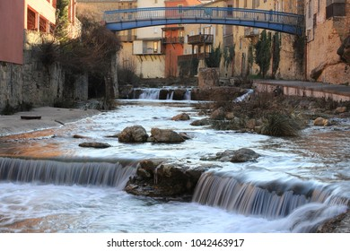 french village of Renne les Bains in Aude and waterfalls on Sals river, Occitanie in south of France