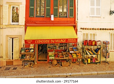 French Village shop in the South of France selling fresh food, wine, groceries and regional products