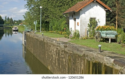 French waterway, lock house. canal in France.