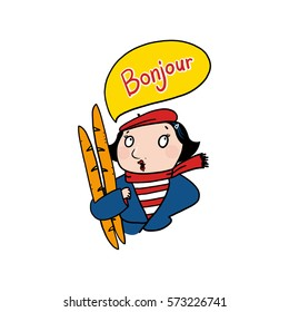 French woman saying bonjour illustration; Woman holding baguettes drawing